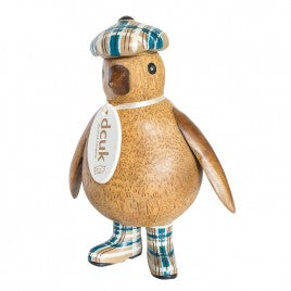 The Original Duck Company (DCUK). Wooden Baby Emperor Penguin with Tartan Hat and Welly Boots (Choice of tartan colours)
