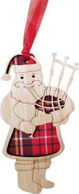 Santa Playing Bagpipes hanging plaque