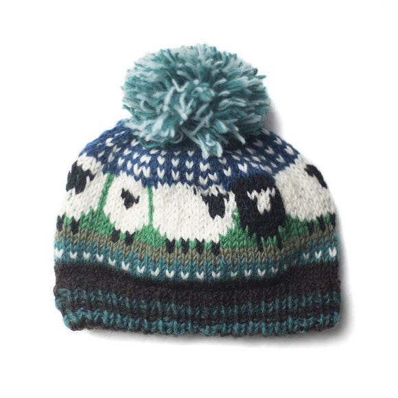 Chunky Hand Knitted Woollen Sheep Bobble Hat - Blue