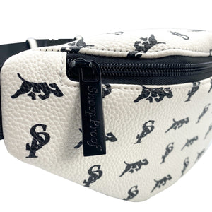 Elusive 2.0 Belt Bag in White & Black (Black Hardware) - Smell Proof Belt Bag