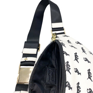 Elusive 2.0 Belt Bag in White & Black (Gold Hardware) - Smell Proof Belt Bag