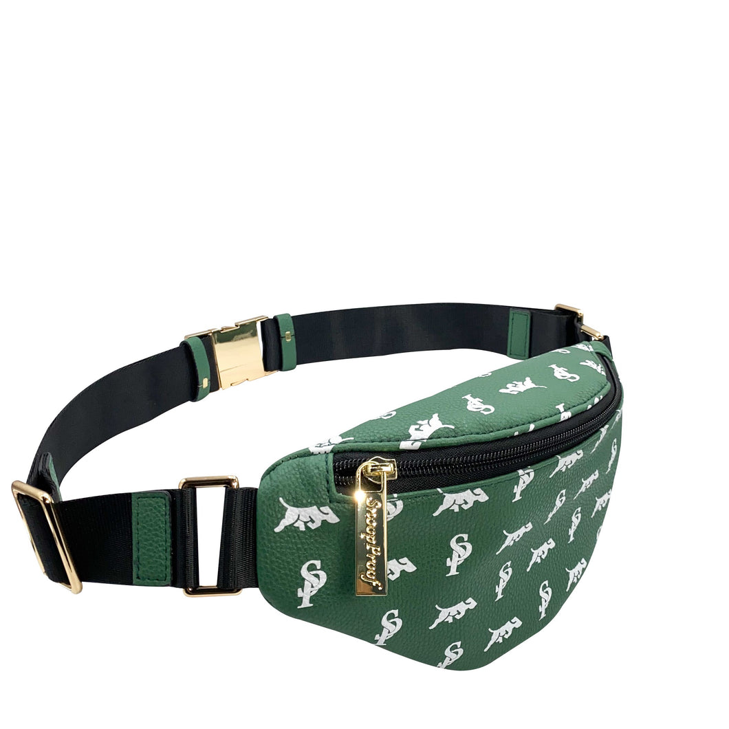 Elusive 2.0 Belt Bag in Green & White - Smell Proof Belt Bag