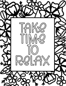 Take Time To Relax Coloring Sheet