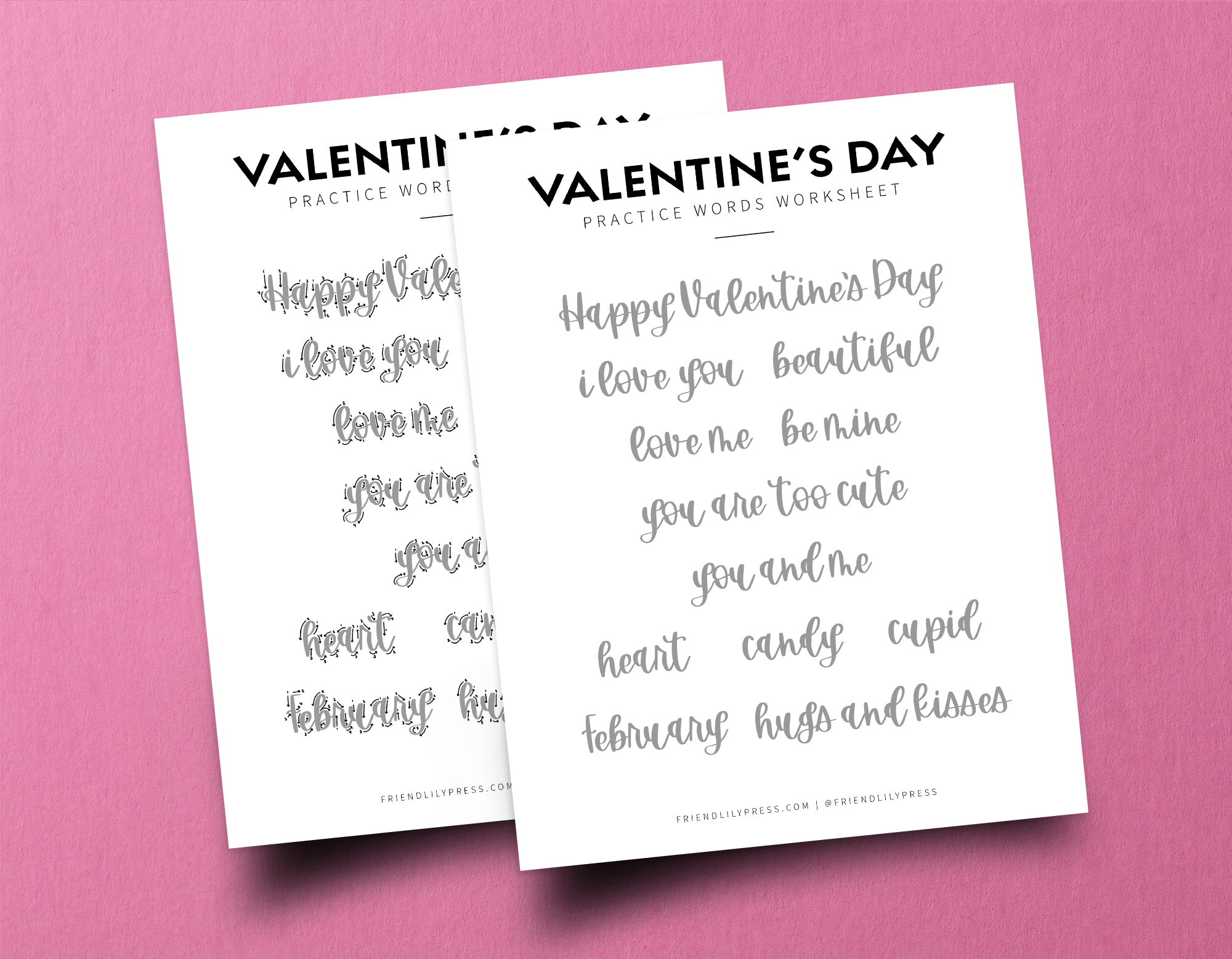 Valentine's Lettering Worksheet Downloadable
