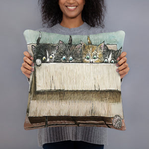 Box of Kittens Throw Pillow