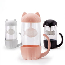 Load image into Gallery viewer, 280ml Cute Cat Glass Tea Mugs With Fish Infuser/Strainer