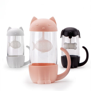 280ml Cute Cat Glass Tea Mugs With Fish Infuser/Strainer