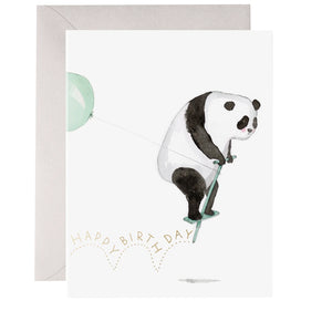 Panda Pogo Birthday Card