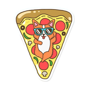 Corgi Pizza Float Sticker