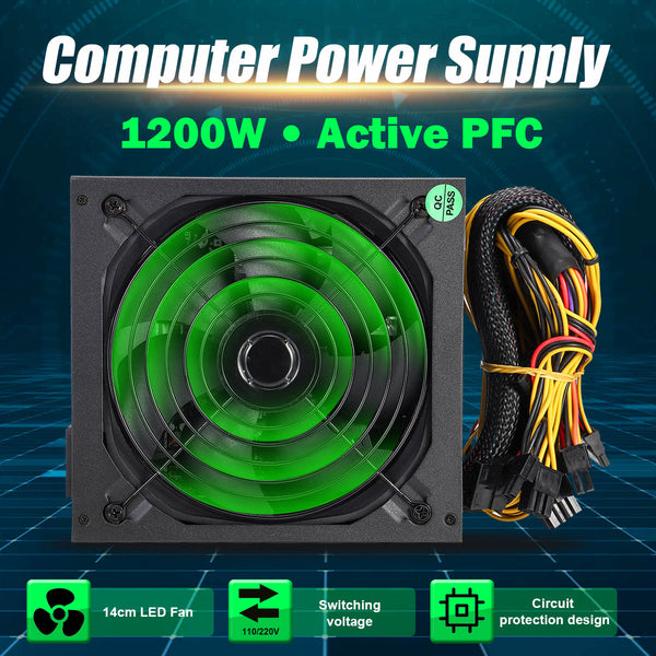 1200W PFC PC Power Supply 140mm Quiet LED