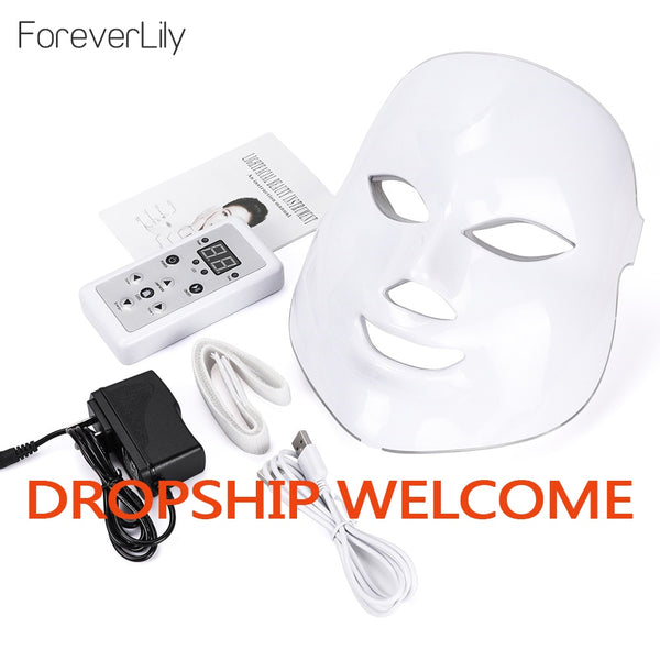 Led Mask Photon Electric LED Facial Mask 7 Colors Led with Neck Skin