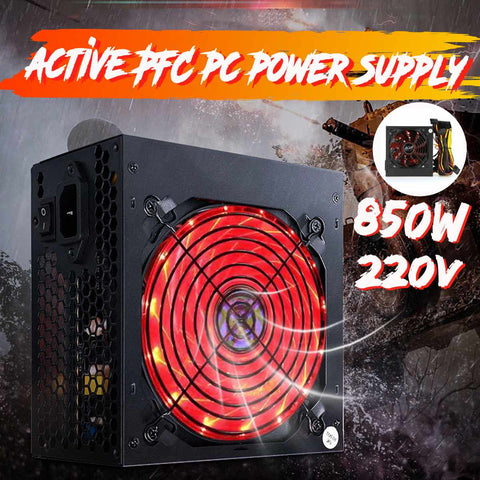 Black 850W Power Supply Active PFC Silent Fan ATX
