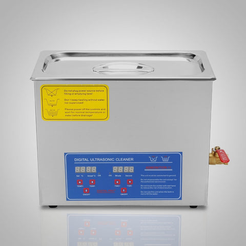 Heated Ultrasonic Cleaner with Digital Timer 200W 6 L Stainless Steel