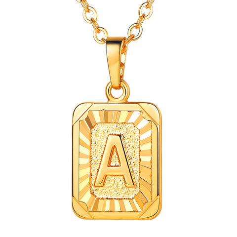 Letter Pendants Necklace Gold Color Fahion Brass Army