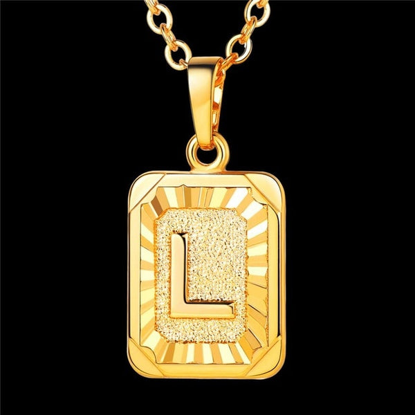 Factory hot sale A-Q high quality gold color dog tag initials necklace letters
