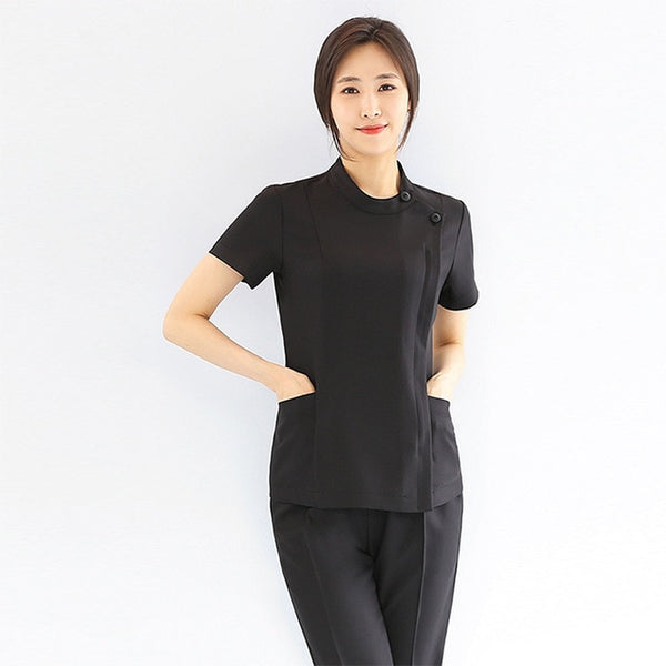 slim fit overalls beauty salon beautician work clothing health museum