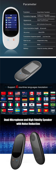 F1/F1A Smart Translator Instant-Voice Photo Translator Real Time Two Way 51 Multi-Languages  Translation Machine for Traveling