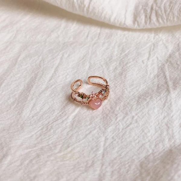 Floral Pink Heart Ring 002 - Abbott Atelier