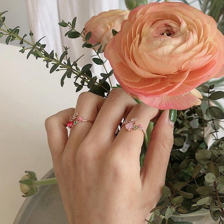 Floral Pink Heart Ring 004 - Abbott Atelier