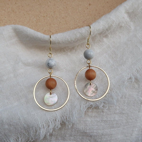 Howlite Hoop Earrings 008 - Abbott Atelier