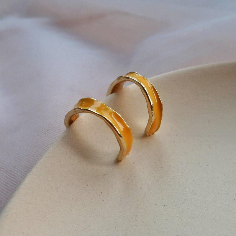 Yellow Hoop Earrings 027 - Abbott Atelier
