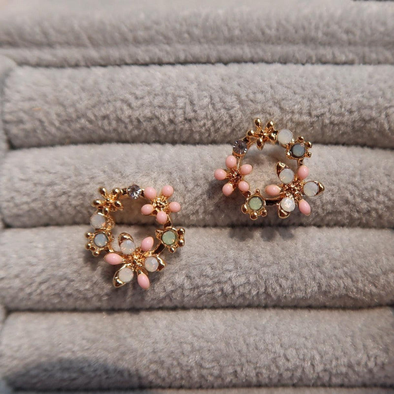 Pink Flower Stud Earrings 056 - Abbott Atelier