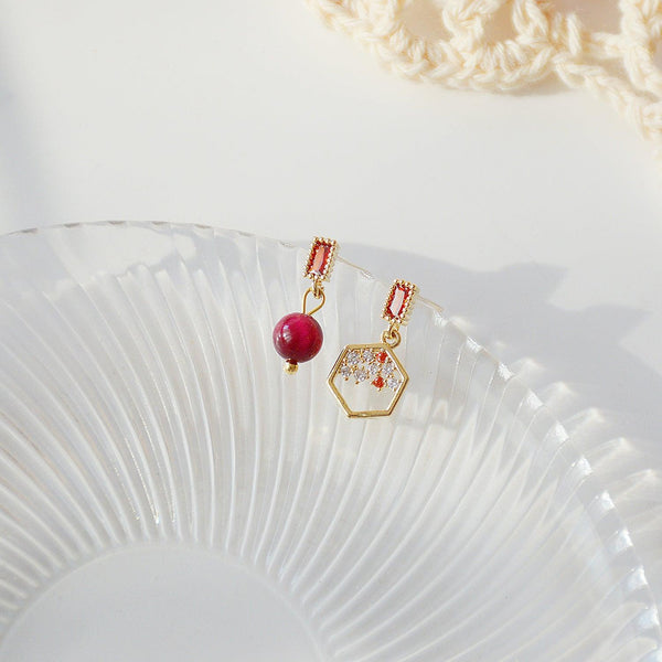 Red Bean Asymmetrical Earrings 151 - Abbott Atelier