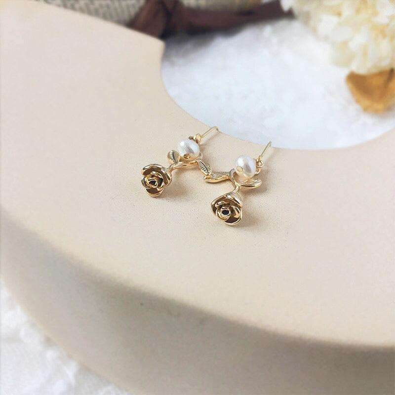 Rose & Pearl Earrings 240 - Abbott Atelier
