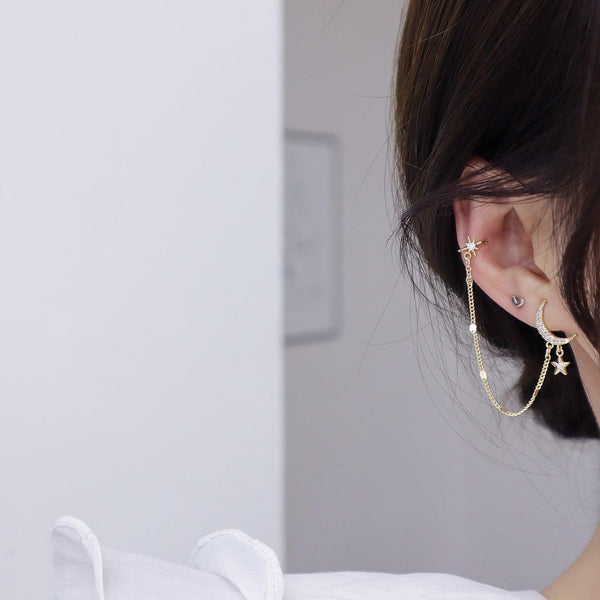 Moon & Star Earring + Ear Cuff 310