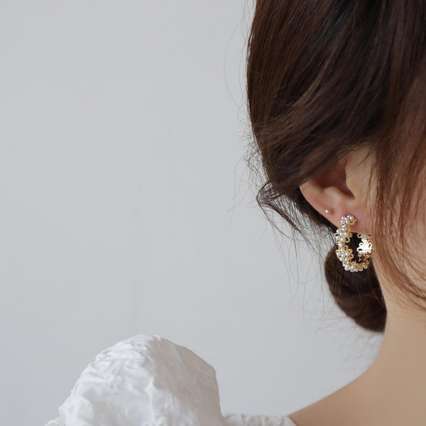 Flower Hoop Earrings 358