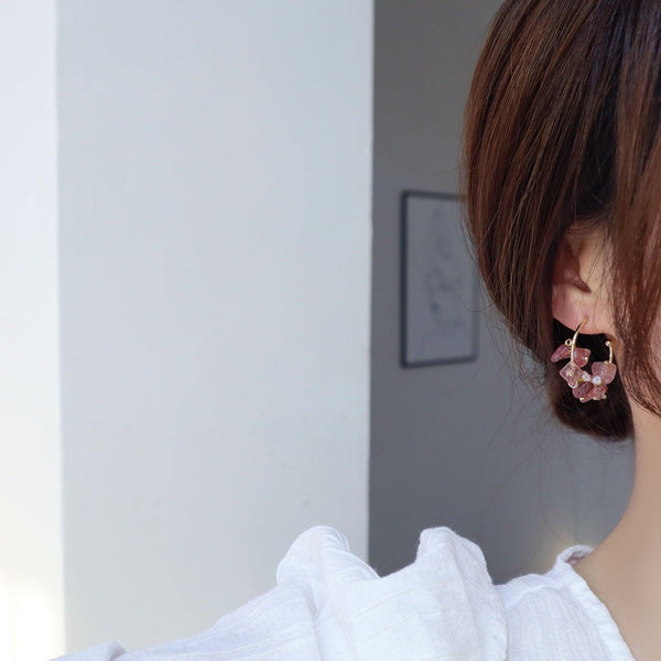 Rose Quartz Hoop Earrings 363