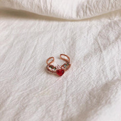 Floral Red Heart Ring 001 - Abbott Atelier