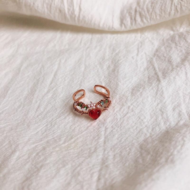 [SAMPLE SALE] Floral Red Heart Ring 001