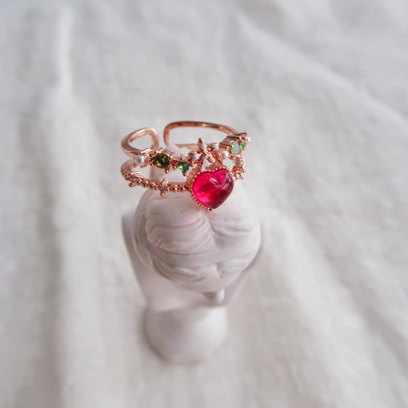 [SAMPLE SALE] Floral Red Heart Ring 001 - Abbott Atelier