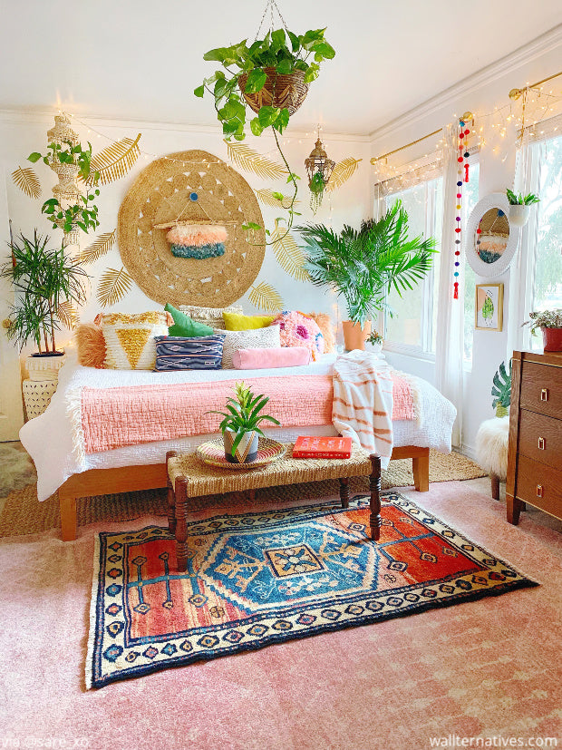 Bohemian Bedroom Decor, Boho Wall Art, Jungalow Style Palm Tree Leaves Decals - Removable Wall Decals from Wallternatives wallternatives.com