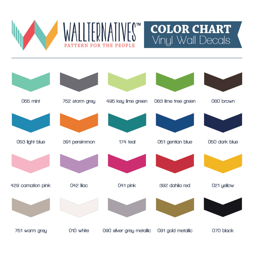 Wallternatives Vinyl Wall Decals Color Chart