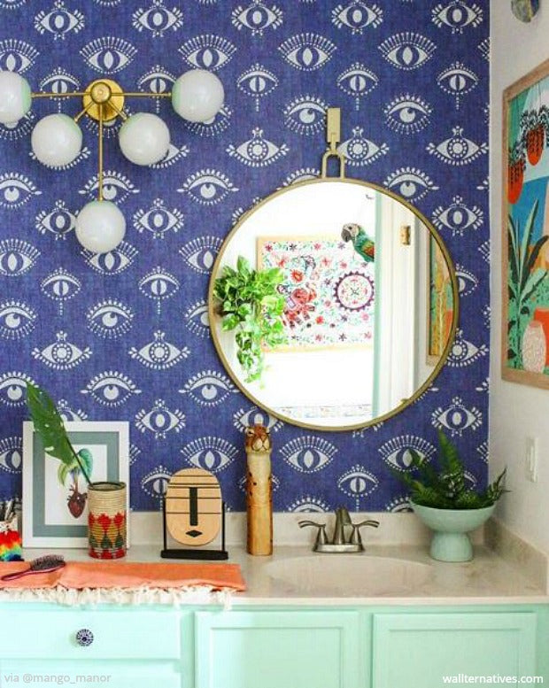 all seeing eye wall decor boho wallpaper jungalow style bathroom wall art