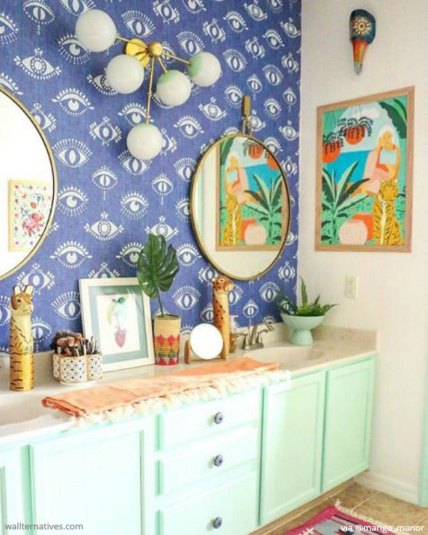 bohemian bathroom decor jungalow style wallpaper removable wallpapers to decorate walls