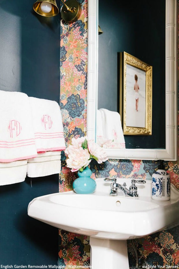 Glitter Guide Loves Removable Wallpaper from Wallternatives! DIY Bathroom Decor Makeover with Flower Wall Design Floral Peel and Stick Wallpaper