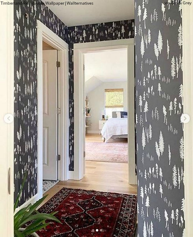 Peel & Stick Wallpaper Turns Boring Beige into Beautiful - Girl & Grey Rustic Trees Wall Decor - Removable Wallpaper from Wallternatives