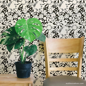 Black and White Wallpaper - Modern Flower Wall Pattern Stickers - Wallternatives.com