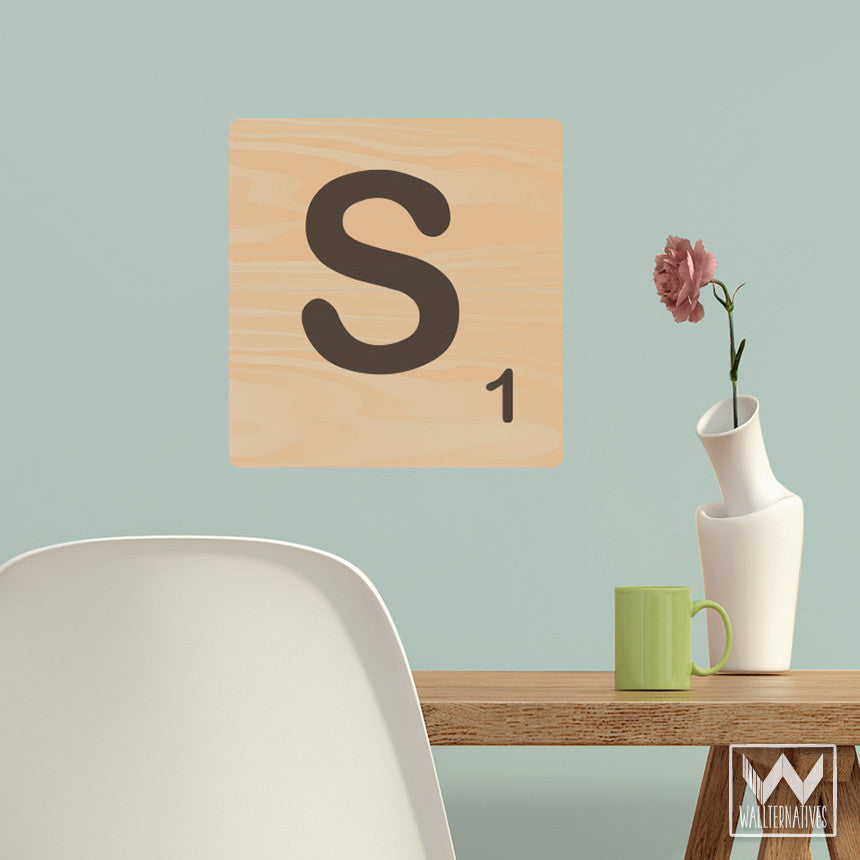 Scrabble Alphabet Letter Tile Removable Wall Decal For