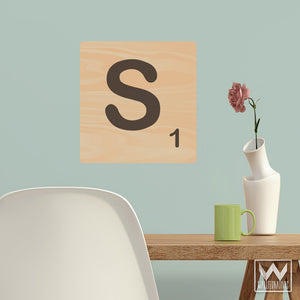 Alphabet Tile Monogram Removable Wall Decals - Scrabble Letters Wall Art - Ro