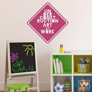 Cute Creative Stop Sign Decor - Art at Work Vinyl Wall Decals - Wallternatives