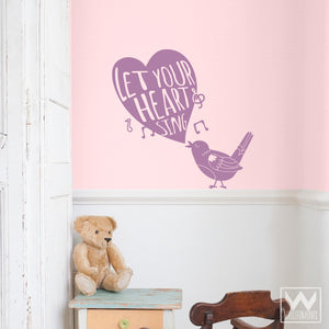 Cute Girls Nursery Decor - Bird Quote Vinyl Wall Decals - Wallternatives