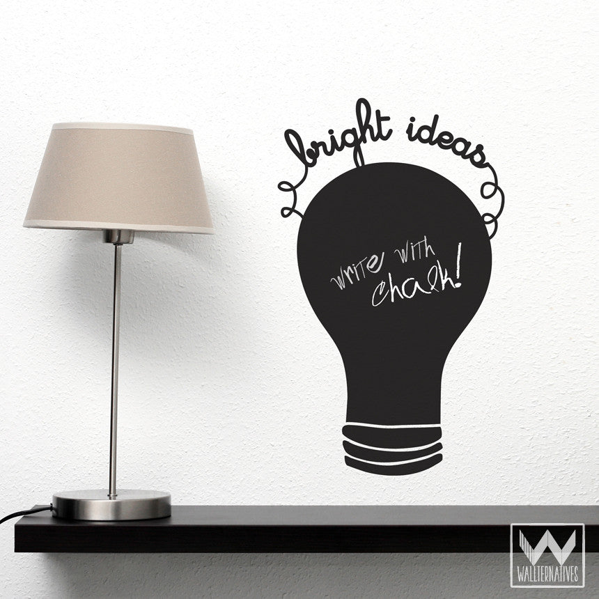 Light Bulb Chalkboard Vinyl Wall Decals For Desk, Office, School Notes    Wallternatives