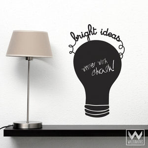 Light bulb chalkboard vinyl wall decals for desk, office, school notes - Wallternatives