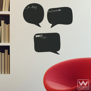 Speech Bubbles Chalkboard Vinyl Wall Decals for Notes - Wallternatives