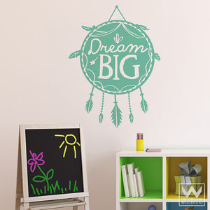 Inspirational Dream Big Dreamcatcher Quote Removable Wall Decals - Wallternatives