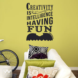 Inspirational Creavity Einstein Mustache Quote Vinyl Wall Decals - Wallternatives